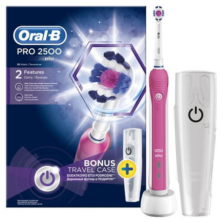 ORAL-B Pro 2500 3D White TravelCase pink